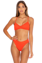 ORILLAS DEL MAR - Puckered Bralette & High Leg Banded Waist Bottom • Fuego