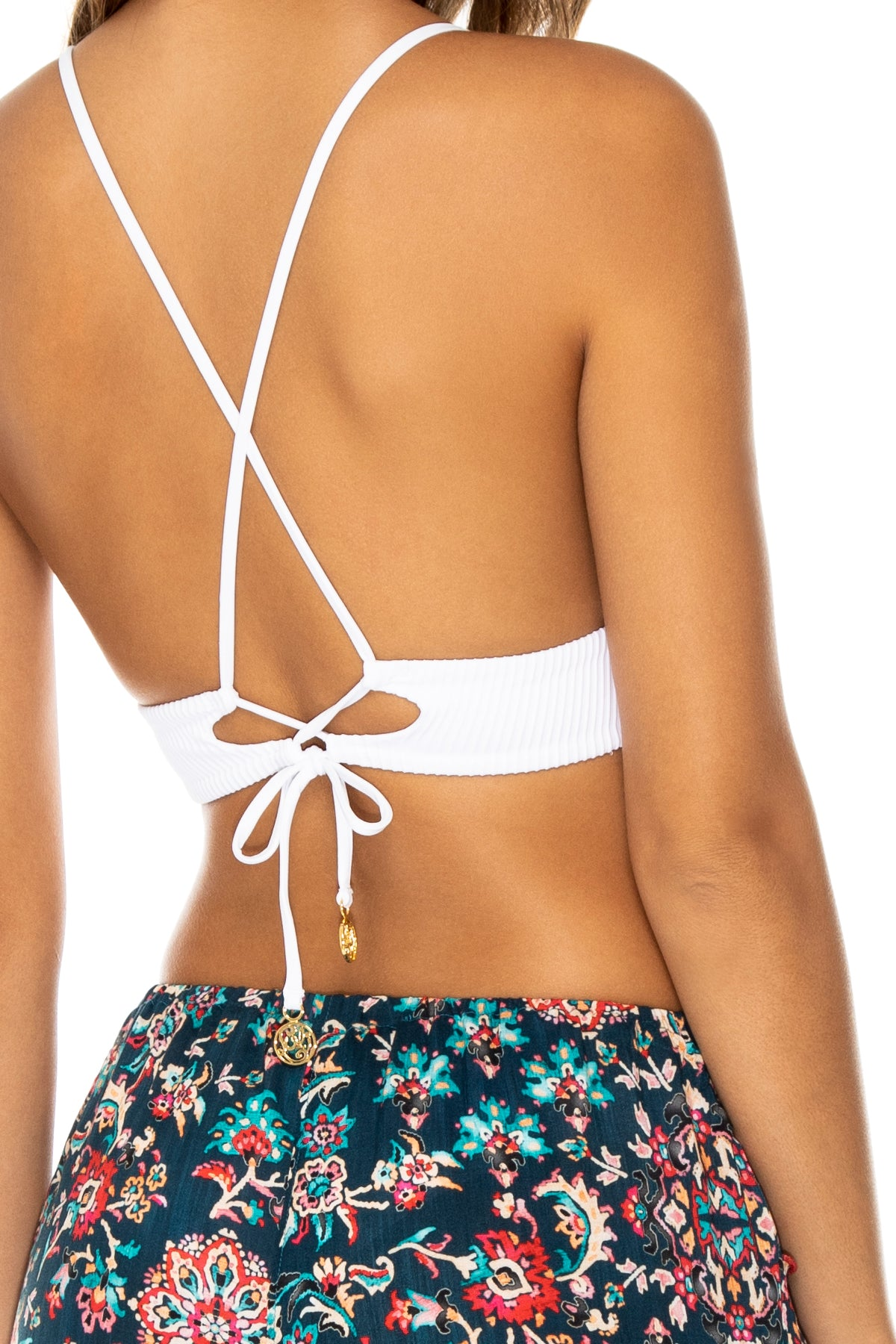 CORDOBA - Cross Back Bustier Top & Split Side Wide Leg Pant • White