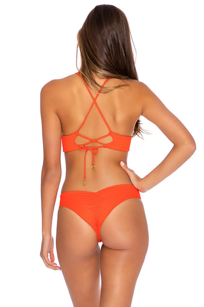 ORILLAS DEL MAR - Cross Back Bustier Top & Seamless Wavey Ruched Back Bottom • Fuego