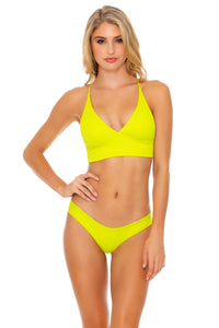 ORILLAS DEL MAR - Cross Back Bustier Top & Seamless Wavey Ruched Back Bottom • Glowstick