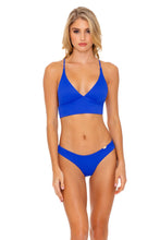 ORILLAS DEL MAR - Cross Back Bustier Top & Seamless Wavey Ruched Back Bottom • Blue My Mind