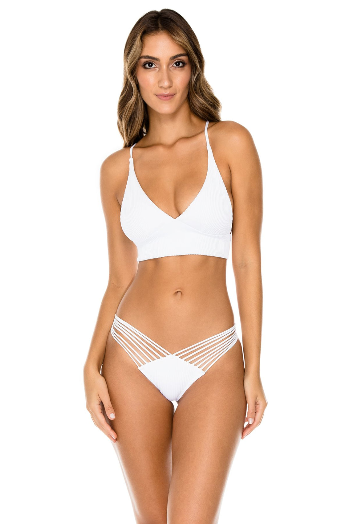 COSTA DEL SOL - Cross Back Bustier Top & Strappy Brazilian Ruched Back Bottom • White (1166428864556)