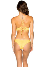 COSTA DEL SOL - Cross Back Bustier Top & Strappy Brazilian Ruched Back Bottom • Banana