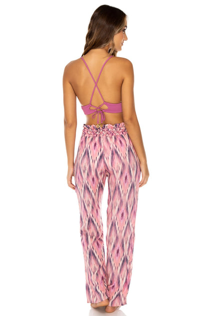 CADIZ - Halter Cross Back Bustier Top & Paper Bag Pants • Multicolor