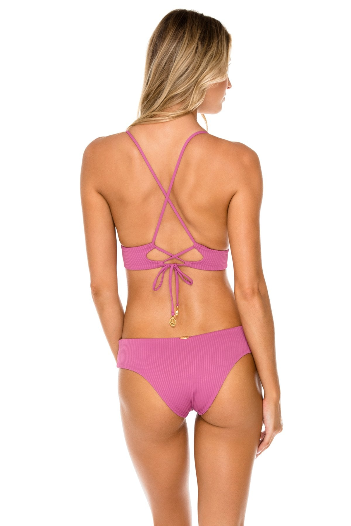 ORILLAS DEL MAR - Cross Back Bustier Top & Moderate Bottom • Frambuesa