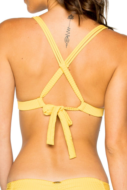 COSTA DEL SOL - Molded Push Up Bandeau Halter Top & Strappy Brazilian Ruched Back Bottom • Banana