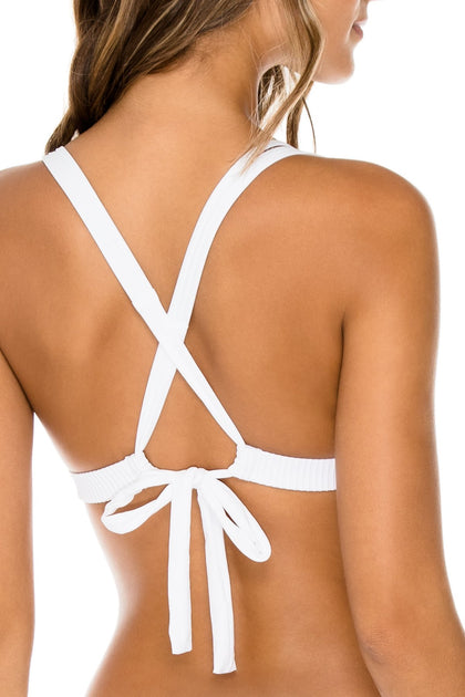 COSTA DEL SOL - Molded Push Up Bandeau Halter Top & Full Bottom • White