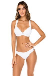 COSTA DEL SOL - Molded Push Up Bandeau Halter Top & Full Bottom • White (1166430076972)