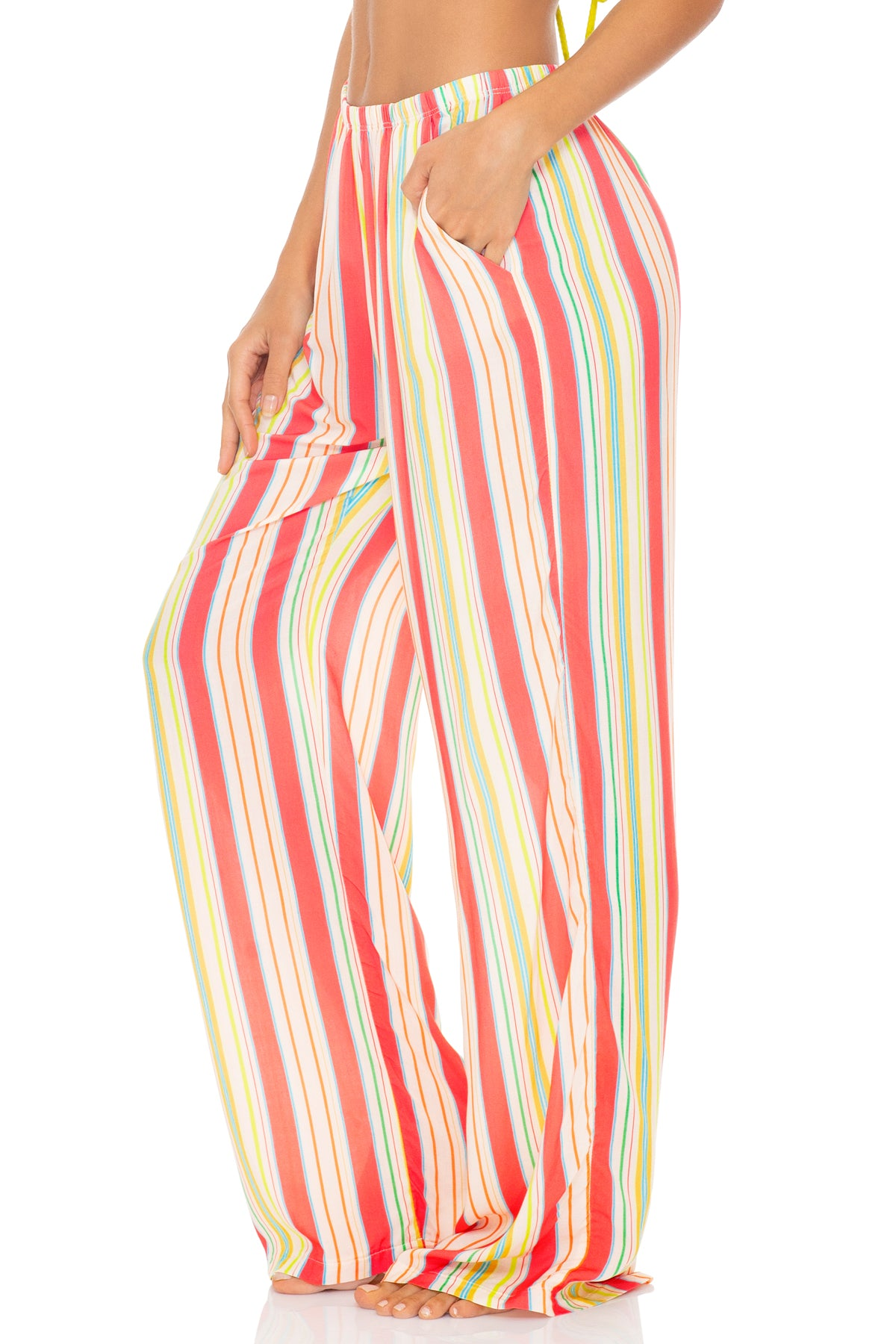 PLAY TIME - Flare Bottom Pants • Multi White