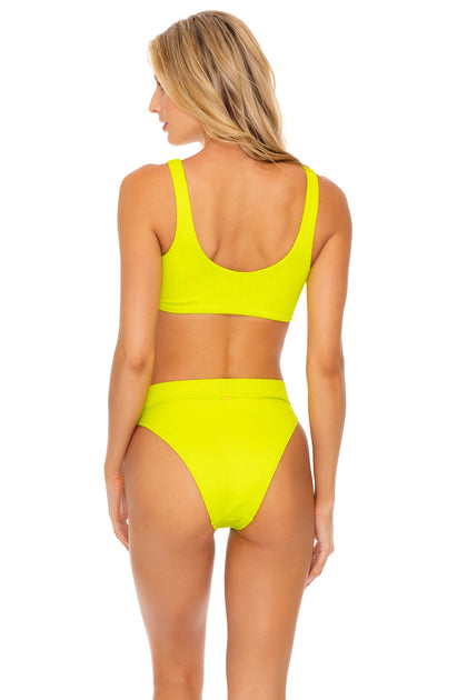 ORILLAS DEL MAR - Lace Up Bralette & High Leg Banded Waist Bottom • Glowstick