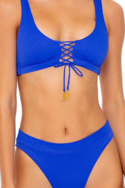 ORILLAS DEL MAR - Laceup Bralette & High Leg Banded Waist Bottom • Blue My Mind