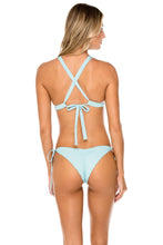 ORILLAS DEL MAR - Molded Push Up Bandeau Halter Top & Wavey Ruched Back Brazilian Tie Side Bottom • Acuario