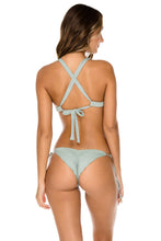 ORILLAS DEL MAR - Molded Push Up Bandeau Halter Top & Wavey Ruched Back Brazilian Tie Side Bottom • Jardines