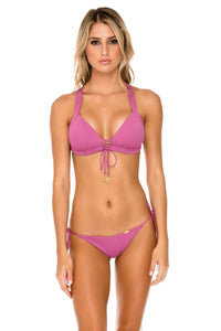 ORILLAS DEL MAR - Molded Push Up Bandeau Halter Top & Wavey Ruched Back Brazilian Tie Side Bottom • Frambuesa