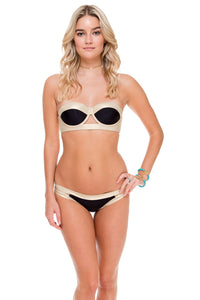 WARRIOR SPIRIT - Cut Out Underwire Top & Moderate Split Band Bottom • Black Gold