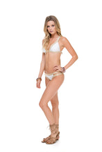 WARRIOR SPIRIT - Adjustable Back Halter Top & Moderate Split Band Bottom • White/ Gold