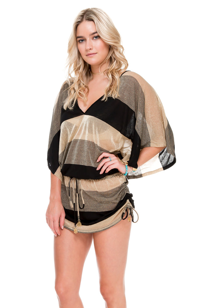 WARRIOR SPIRIT - Cabana V Neck Dress • Black Gold