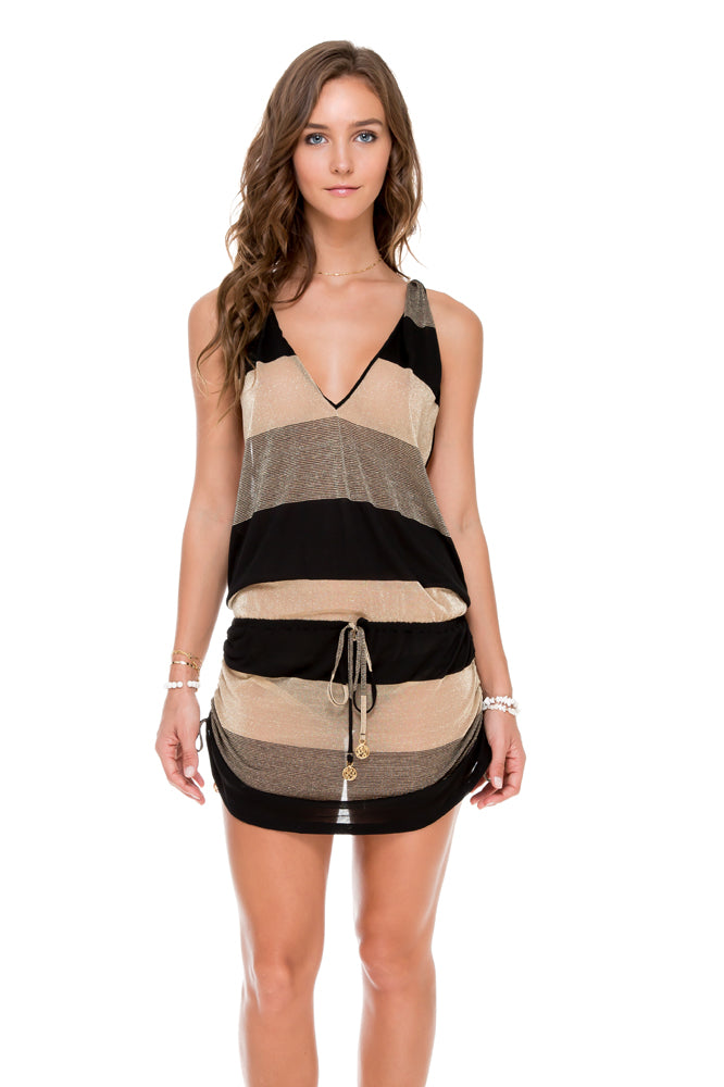 WARRIOR SPIRIT - T Back Mini Dress • Black Gold