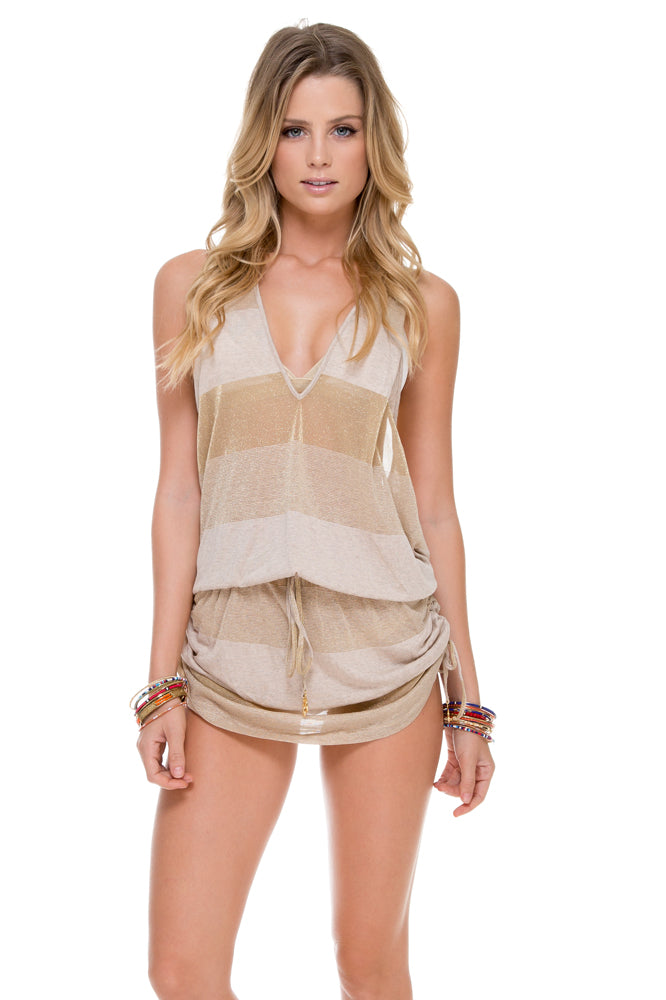 WARRIOR SPIRIT - T Back Mini Dress • Sand/gold