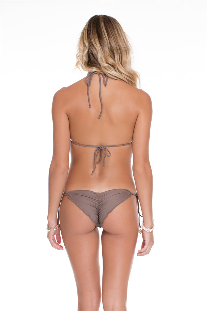 COSITA BUENA - Triangle Top & Wavey Ruched Back Brazilian Tie Side Bottom • Sandy Toes