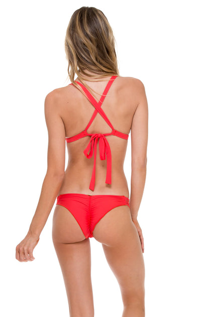 COSITA BUENA - Adjustable Back Halter Top & Strappy Brazilian Ruched Back Bottom • Girl On Fire