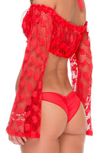 COSITA BUENA - Off The Shoulder Crochet Top & Wavey Ruched Back Brazilian Tie Side Bottom • Girl On Fire