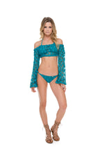 COSITA BUENA - Off The Shoulder Crochet Top & Wavey Ruched Back Brazilian Tie Side Bottom • Exuma