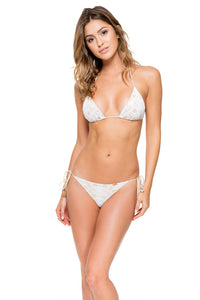 MUCHACHITA LINDA - Triangle Top & Wavey Ruched Back Brazilian Tie Side Bottom • White/ Gold