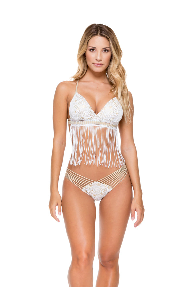 MUCHACHITA LINDA - Cross Over Fringe Bra Top With Adjustable Back & Strappy Brazilian Ruched Back Bottom • White/ Gold
