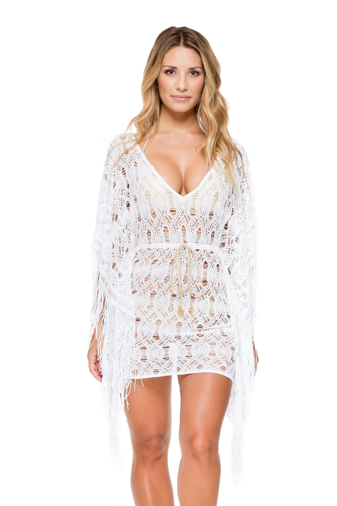 MUCHACHITA LINDA - Caftan Fringe Dress • White/ Gold (874456416300)