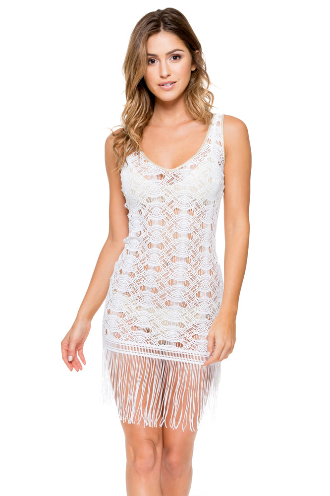 MUCHACHITA LINDA - Flirty Fringe Dress • White/ Gold