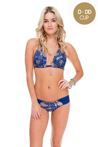 WANTED AND WILD - Triangle Halter Top & Moderate Bottom • Blue (874507829292)
