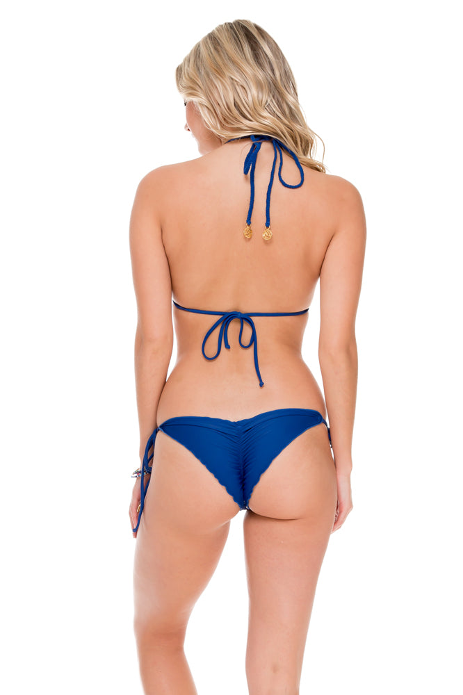 WANTED AND WILD - Triangle Top & Wavey Ruched Back Brazilian Tie Side Bottom • Blue