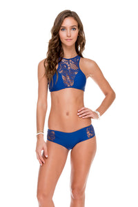 WANTED AND WILD - High Neck Top & Short Bottom • Blue