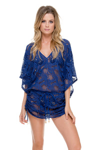 WANTED AND WILD - Cabana V Neck Dress • Blue