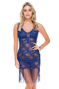 WANTED AND WILD - Flirty Fringe Dress • Blue