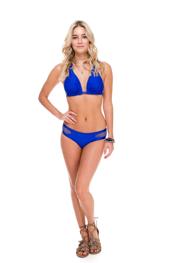 SAILOR'S KISS - Triangle Halter Top & Moderate Bottom • Electric Blue