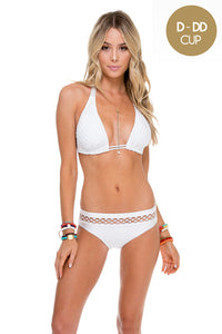 SAILOR'S KISS - Triangle Halter Top & Fishnet Full Bottom • White