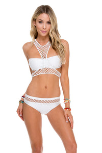 SAILOR'S KISS - Fishnet Sporty Top & Fishnet Full Bottom • White