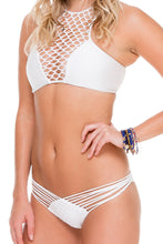 SAILOR'S KISS - High Neck Top & Strappy Brazilian Ruched Back Bottom • White