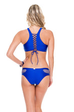 SAILOR'S KISS - High Neck Top & Moderate Bottom • Electric Blue
