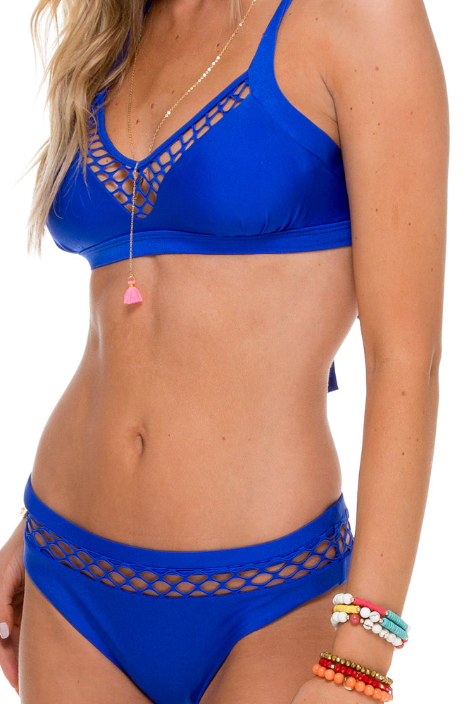 SAILOR'S KISS - Fishnet Bralette Top & Fishnet Full Bottom • Electric Blue