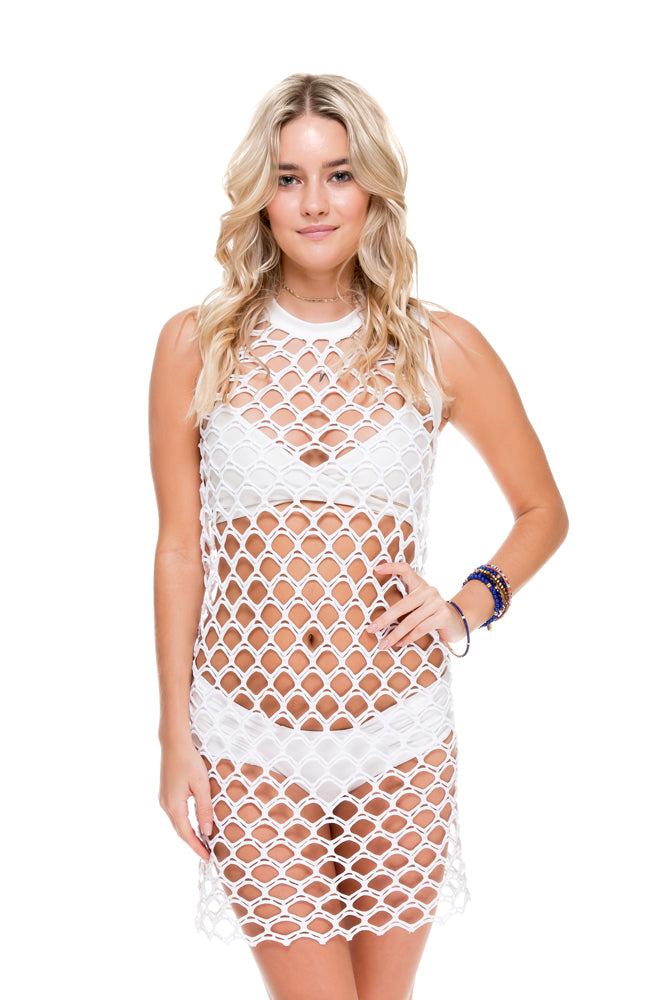 SAILOR'S KISS - What A Catch Dress • White
