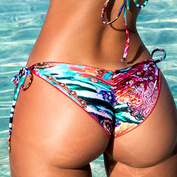 LIKE A FLAME - Wavey Ruched Back Brazilian Tie Side Bottom