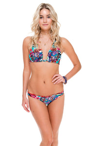 LIKE A FLAME - Triangle Halter Top & Full Ruched Back Bottom • Multicolor