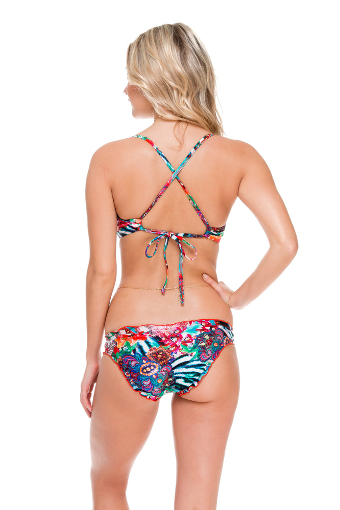 LIKE A FLAME - Underwire Adjustable Top & Full Ruched Back Bottom • Multicolor