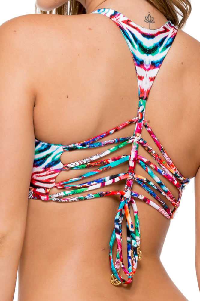 LIKE A FLAME - T Back Bra Top & Strapped Front Low Rise Bottom • Multicolor