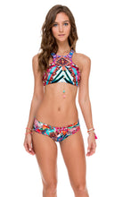 LIKE A FLAME - Glam High Neck Top & Scrunch Ruched Back Brazilian Bottom • Multicolor