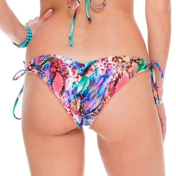 GORGEOUS CHAOS - Wavey Ruched Back Brazilian Tie Side Bottom