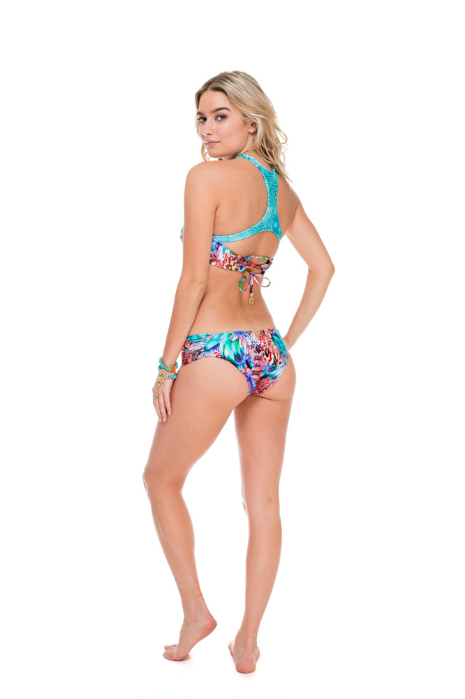GORGEOUS CHAOS - Twisted Bandeau Top & Moderate Bottom • Multicolor